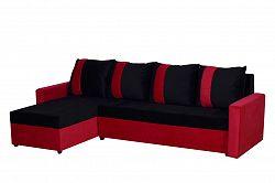Smartshop Rohová sedačka TICO, univerzální roh, černá/červená VODĚODOLNÁ LÁTKA