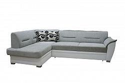 Smartshop Rohová sedačka TOLEDO bez záhlavníku, levá, látka šedo/bílá