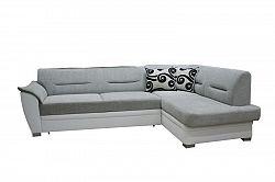 Smartshop Rohová sedačka TOLEDO bez záhlavníku, pravá, látka šedo/bílá