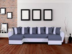 Smartshop Rohová sedačka TYGRYS, šedá látka/bílá ekokůže