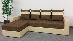 Smartshop Rohová sedačka VERA, univerzální provedení, hnědá látka/béžová ekokůže