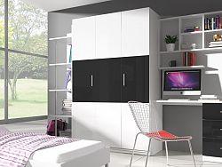 Smartshop Šatní skříň RAJ 3, bílá/černý lesk