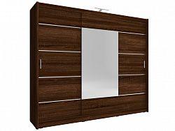 Smartshop Skříň WIKI ALU se zrcadlem 250 cm, dub sonoma čokoládový