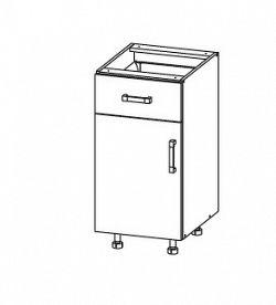 Smartshop TAFNE dolní skříňka D1S 40 SMARTBOX, korpus šedá grenola, dvířka bílý lesk