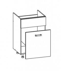 Smartshop TAFNE dolní skříňka DKS60 SMARTBOX pod dřez, korpus šedá grenola, dvířka bílý lesk