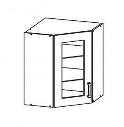Smartshop TAFNE horní skříňka GNWU vitrína - rohová, korpus šedá grenola, dvířka bílý lesk