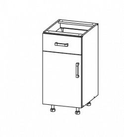Smartshop TAPO PLUS dolní skříňka D1S 40 SAMBOX, korpus šedá grenola, dvířka grafit lesk