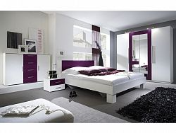 Smartshop VERA ložnice s postelí 160x200, bílá/fialová