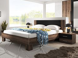 Smartshop VERA postel 160x200 cm s nočními stolky, dub monastery/černá
