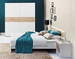 SZYNAKA Ložnice VENECIA, postel 160+ skřín + 2xNS, bílá/dub sonoma