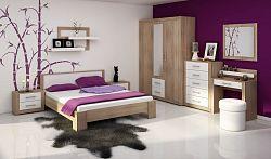 VIKI, ložnice, dub sonoma/bílý lesk