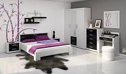 VIKY, ložnice, bílá/černý lesk