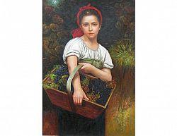 Obraz - Dívka s košem vína