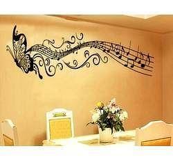 Samolepka na zeď - Motýl a noty - Nalepovací tabule