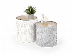 Set příručních stolků ALBA bílá/šedá