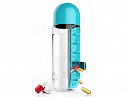 Týdenní dávkovací láhev ASOBU Pill Organizer tyrkysová 600ml