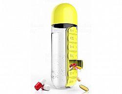 Týdenní dávkovací láhev ASOBU Pill Organizer žlutá 600ml