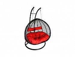 Závěsné relaxační křeslo TWIN - červený sedák