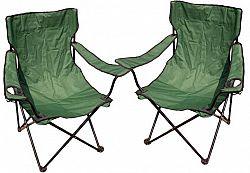 Divero 27858 Kempingová sada - 2x skládací židle s držákem - zelená