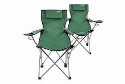 Divero 35943 Sada 2 ks skládací kempingová židle s polštářkem - zelená