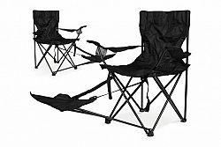 Divero 36000 Sada 2 ks skládací židle s područkami a opěrkou na nohy