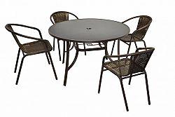 Garthen 31945 Bistro stolek a 4 židle z polyratanu Garth