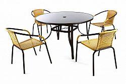 Garthen 36493 Zahradní polyratanový set Bistro se skleněným stolem - béžová