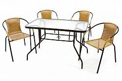 Garthen 37024 Zahradní set polyratanové 4 židle a skleněný stůl