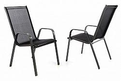 Garthen 40737 Zahradní sada 2 x stohovatelná židle balkonová - černá