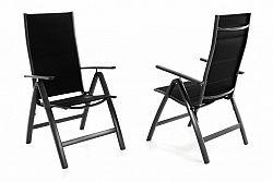 Garthen 40947 Sada dvou zahradních hliníkových židlí DELUXE - černá