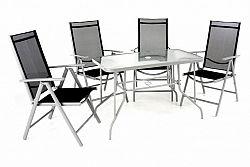 Garthen 40988 Zahradní skládací set stůl + 4 židle - černá