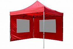 Garthen 9481 Zahradní párty stan nůžkový PROFI 3x3 m červený + 2 boční stěny