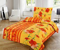 Jahu bavlna povlečení Květiny oranžová 140x200 70x90