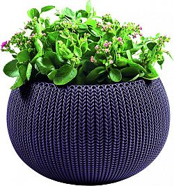 Keter 41242 Květináč COZIES KNIT - M - tmavě fialová