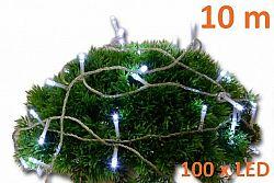 Nexos 2138 Vánoční LED osvětlení 10m s časovým spínačem - studeně bílé, 100 diod
