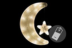 Nexos 41912 Vánoční dekorace - měsíc s hvězdou - teple bílé