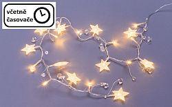 Nexos 64265 Dekorační řetěz 20 LED - hvězdy a krystaly, teplá bílá
