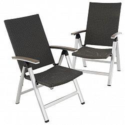 Sada 2 ks zahradních sklopných židlí - černé