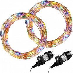 Sada 2 kusů světelných drátů 100 LED - barevná