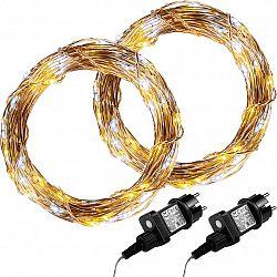 Sada 2 kusů světelných drátů 100 LED - teplá