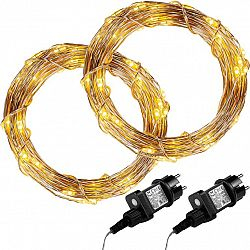 Sada 2 kusů světelných drátů 100 LED - teplá bílá