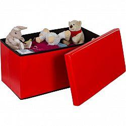 Skládací lavice s úložným prostorem - červená