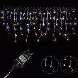 Vánoční světelný déšť - 10 m, 400 LED, teple/studeně bílý