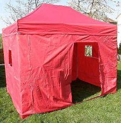 Zahradní párty stan DELUXE nůžkový + boční stěna - 3 x 4,5 m červená