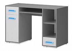Diego 11 - Stůl (přední strana bílá/šedé boky/modrý úchyt)
