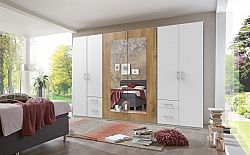Skříň Verdena - 313/210/58 cm, klasické dveře (bílá-dub)