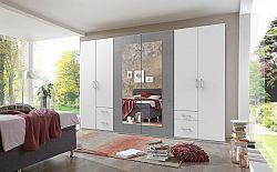 Skříň Verdena - 313/210/58 cm, klasické dveře (světlý beton)