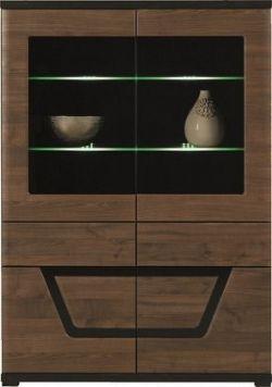 Tes - Vitrína, 2x dveře, 3x police, LED (ořech, korpus a fronty)