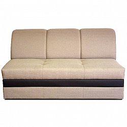3-sed rozkládací, sedačka světle hnědé barvy s čokoládovou ekokůží ROSANA