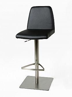 Barová židle s čalouněním v elegantní černé ekokůži DO017